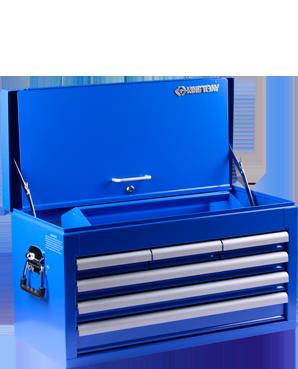 Imagem do prêmio 2º lugar Feras do ano: baú gabinete metálico azul com 6 gavetas equipado
